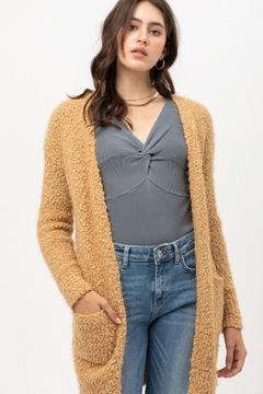 Love Tree Camel Soft Pocket Cardigan - Product List Image