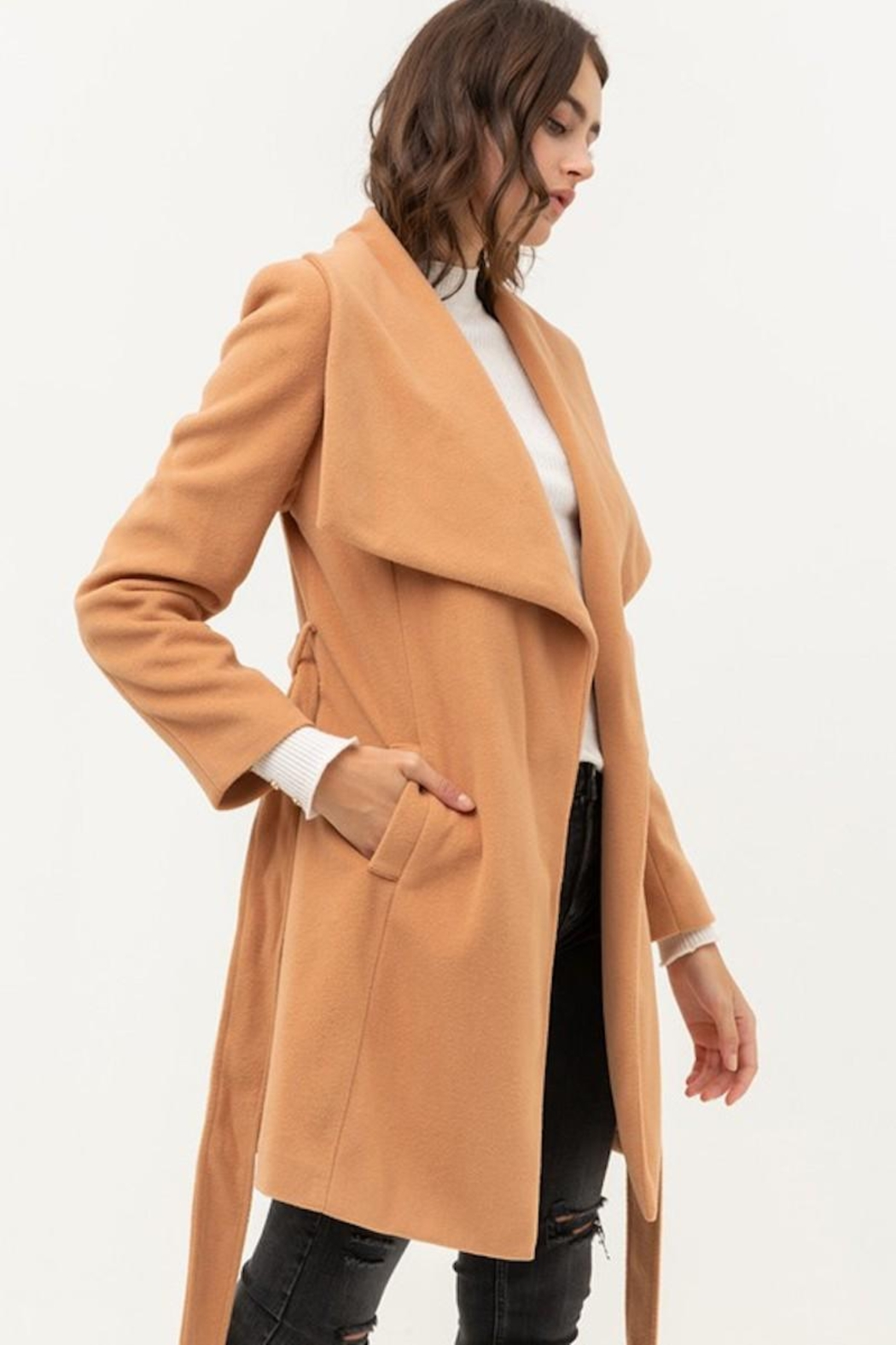 Love Tree Camel Tan Classy Coat - Side Cropped Image