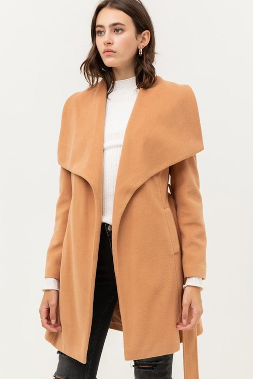 Love Tree Camel Tan Classy Coat - Front Cropped Image