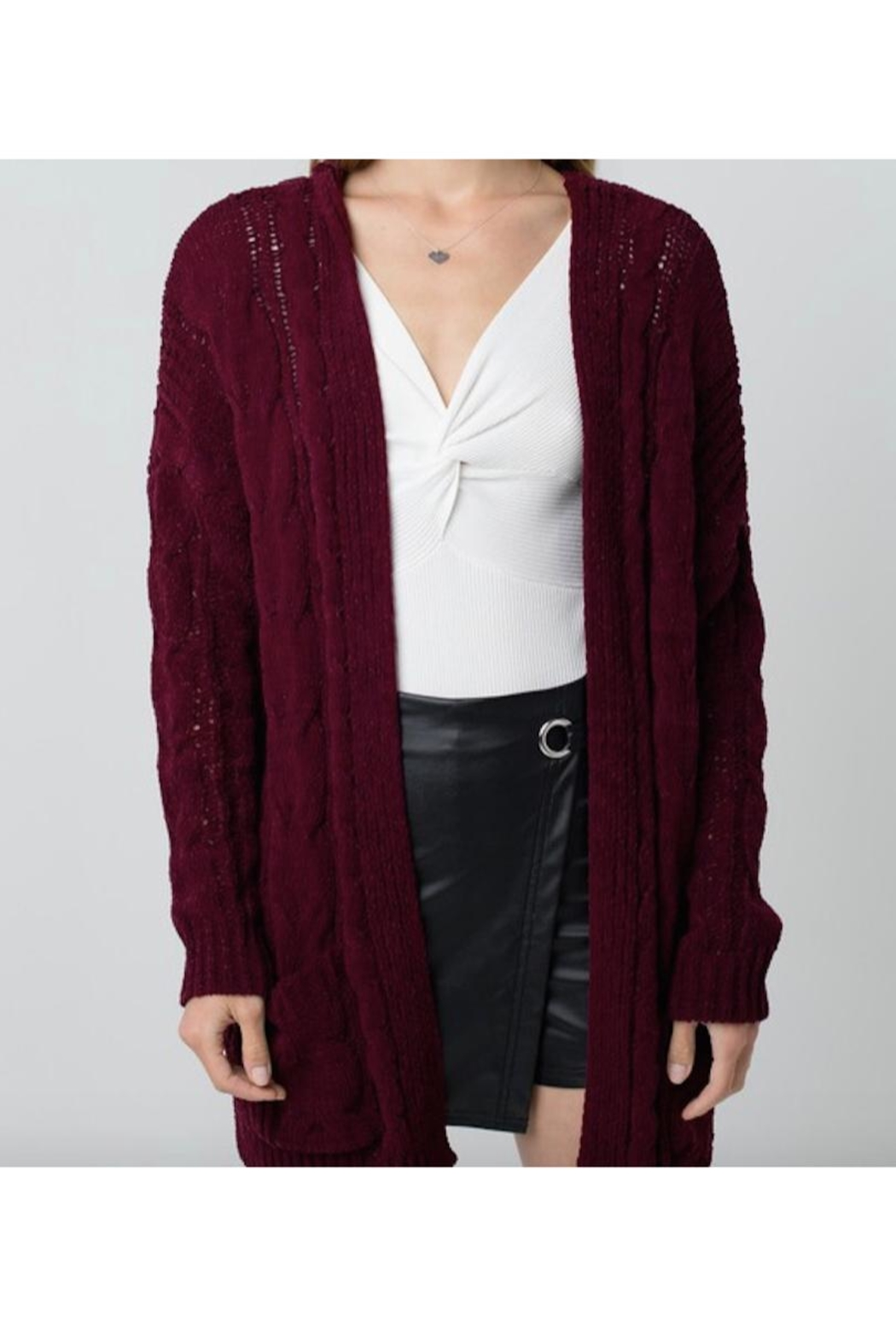 Love Tree Chenille Cable Knit Oversized Cardigan - Main Image