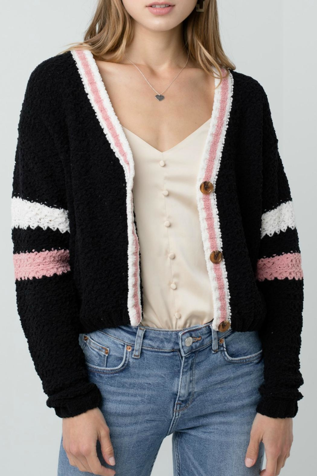 ALB Anchorage Chenille Cropped Cardigan - Back Cropped Image