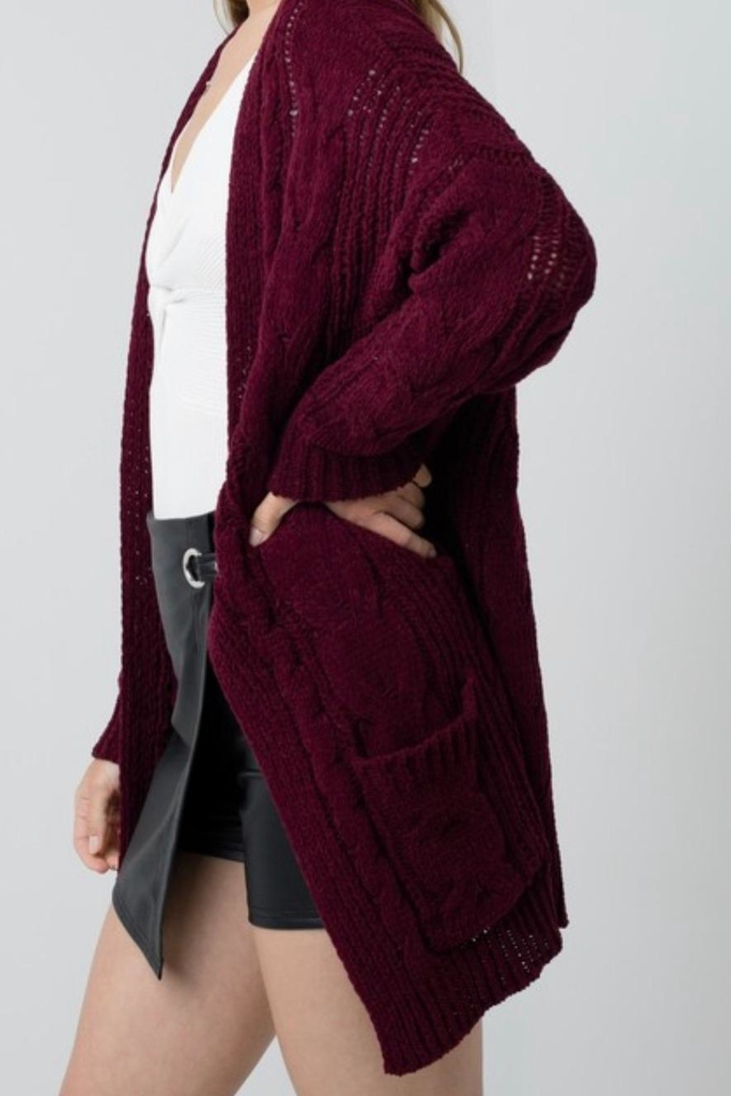 Love Tree Chunky Cable-Knit Cardigan - Front Full Image