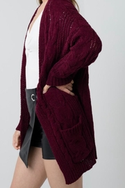 Love Tree Chunky Cable-Knit Cardigan - Front full body