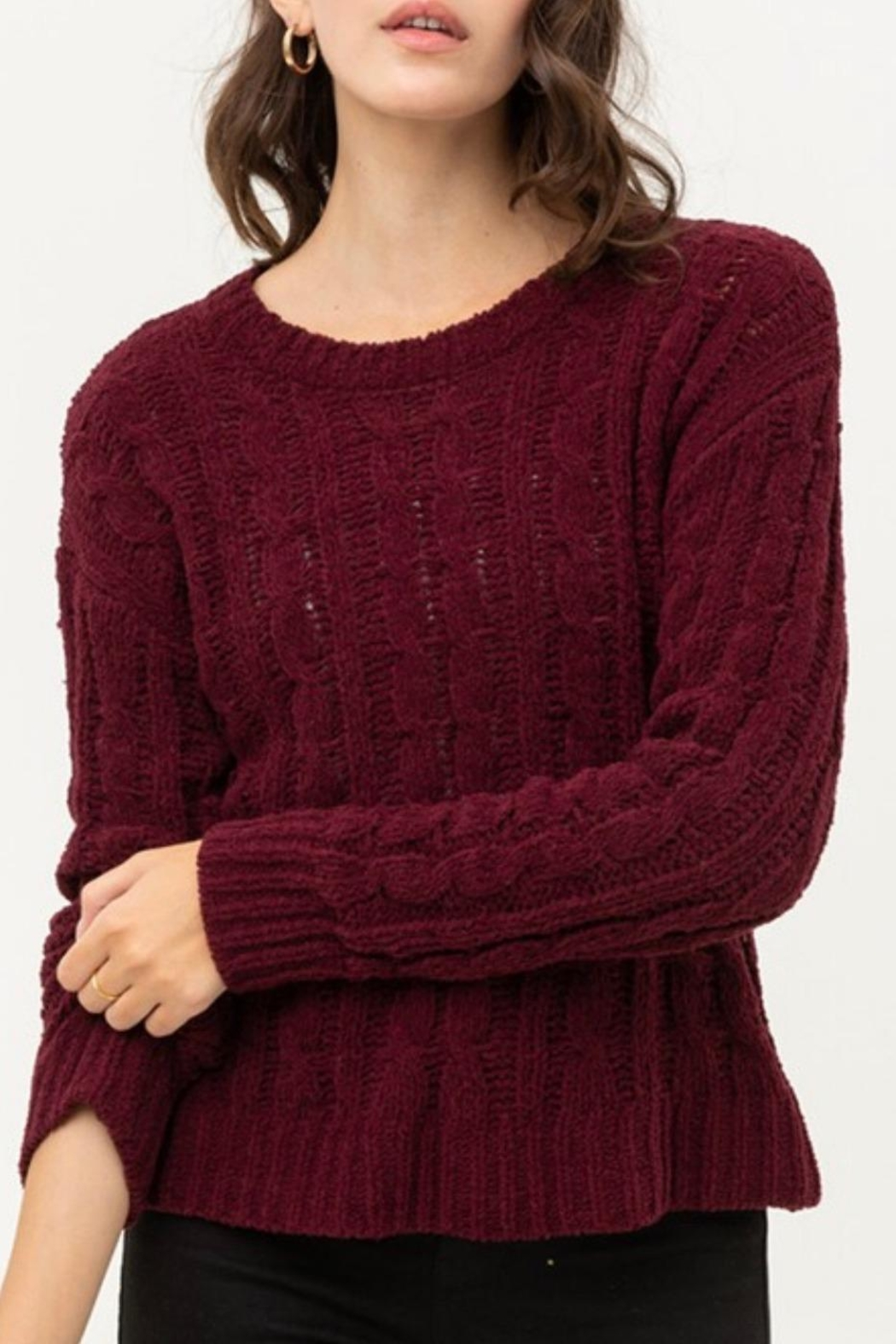 Love Tree Chunky Cable-Knit Sweater - Side Cropped Image