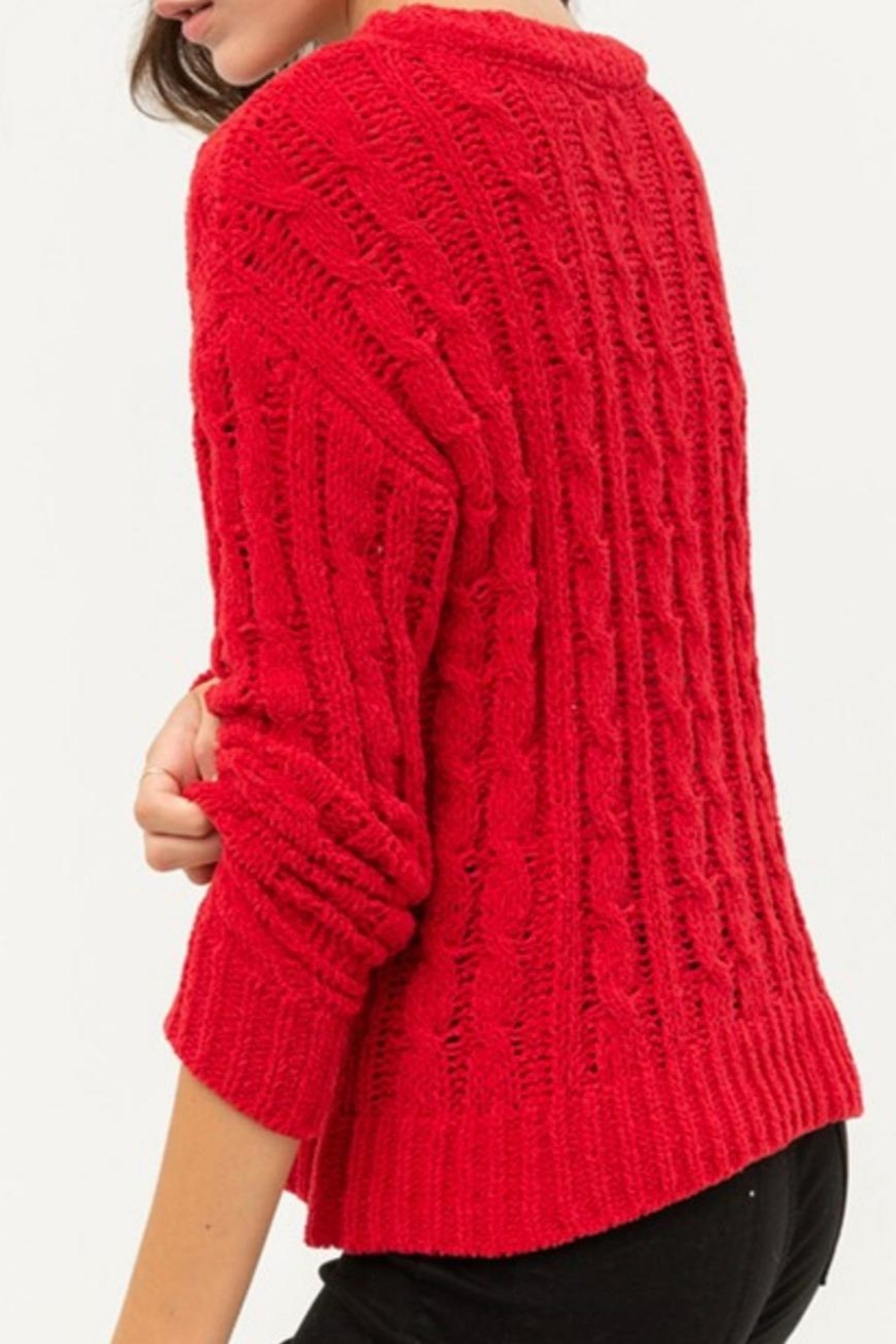 Love Tree Chunky Cable-Knit Sweater - Front Full Image