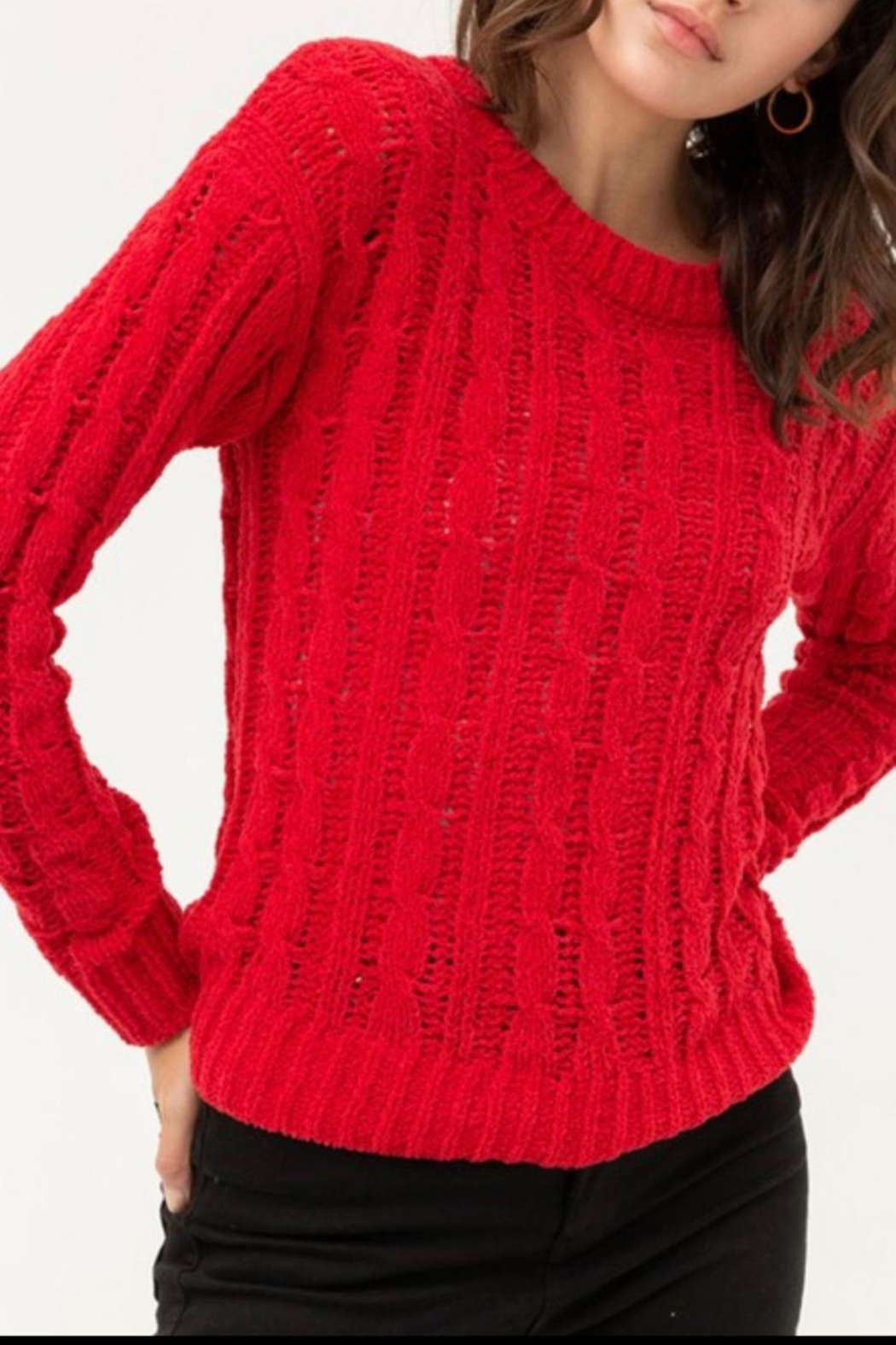 Love Tree Chunky Cable-Knit Sweater - Main Image