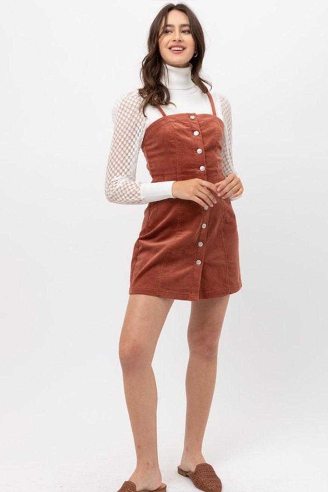 Love Tree Corduroy Button-Down Dress - Back Cropped Image