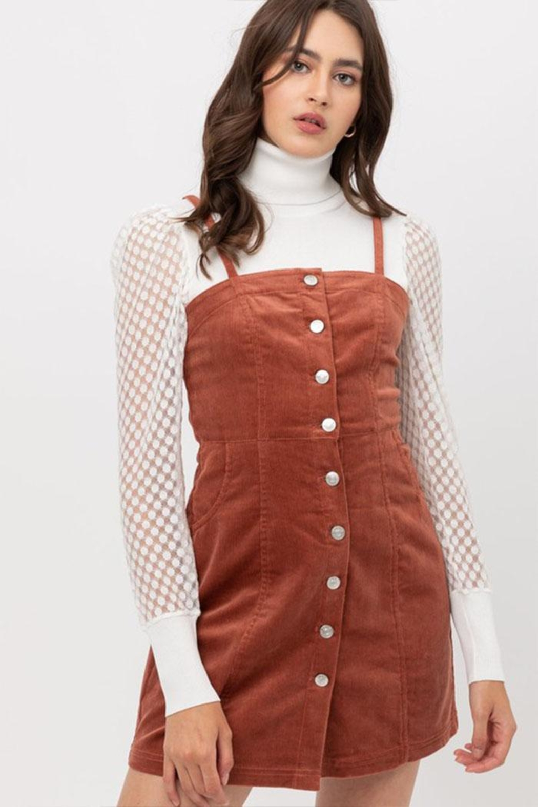 Love Tree Corduroy Button-Down Dress - Main Image