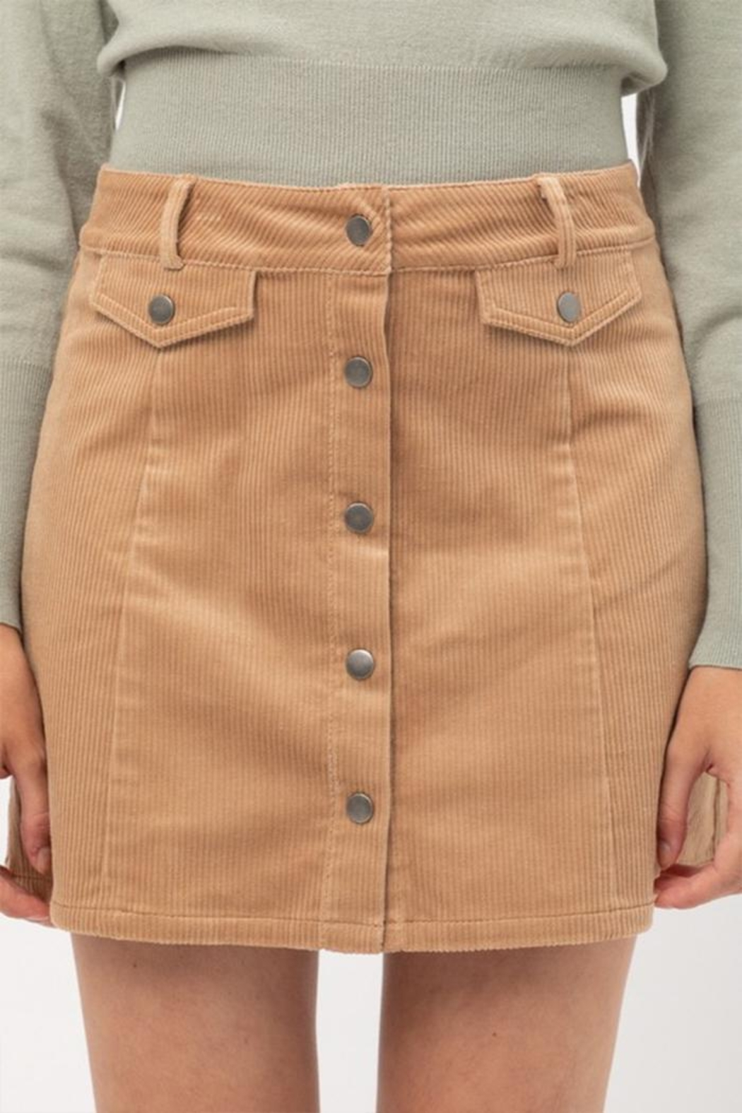 Love Tree Corduroy Mini Skirt - Front Cropped Image