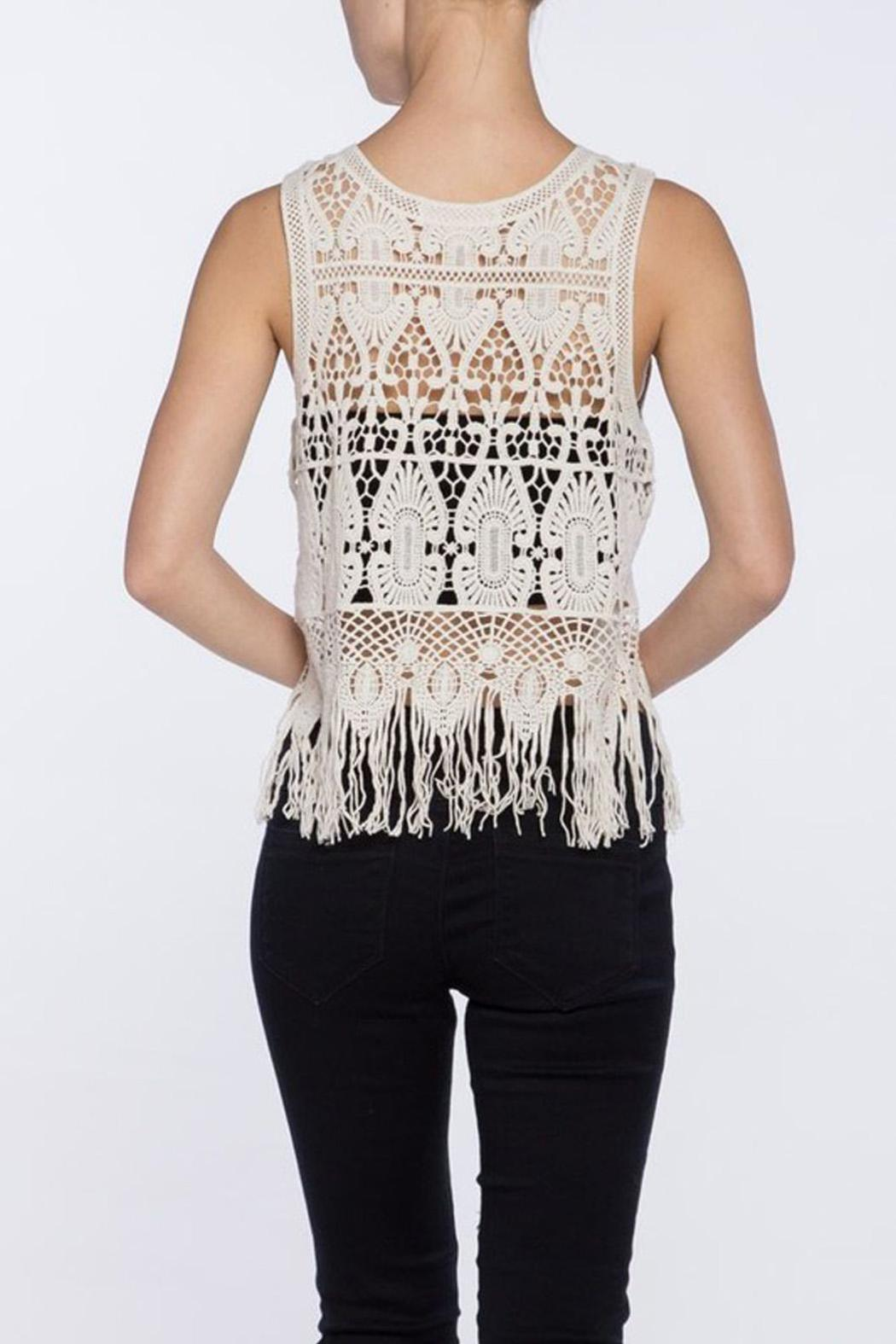 Love Tree Crochet Fringe Top - Side Cropped Image