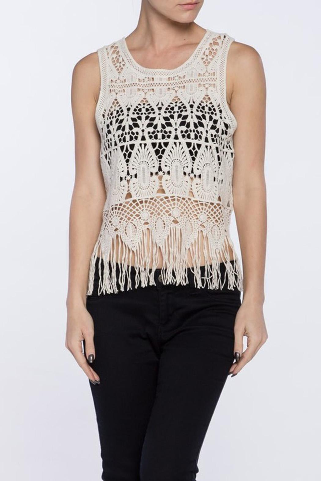 Love Tree Crochet Fringe Top - Front Cropped Image