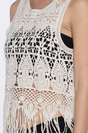 Love Tree Crochet Fringe Top - Back cropped
