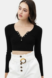 Love Tree Cropped Button Top - Side cropped
