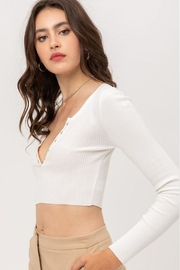 Love Tree Cropped Button Top - Front full body