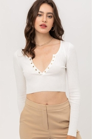 Love Tree Cropped Button Top - Front cropped