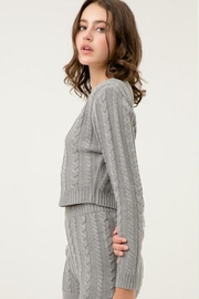 Love Tree Cropped Cable Sweater - Front full body