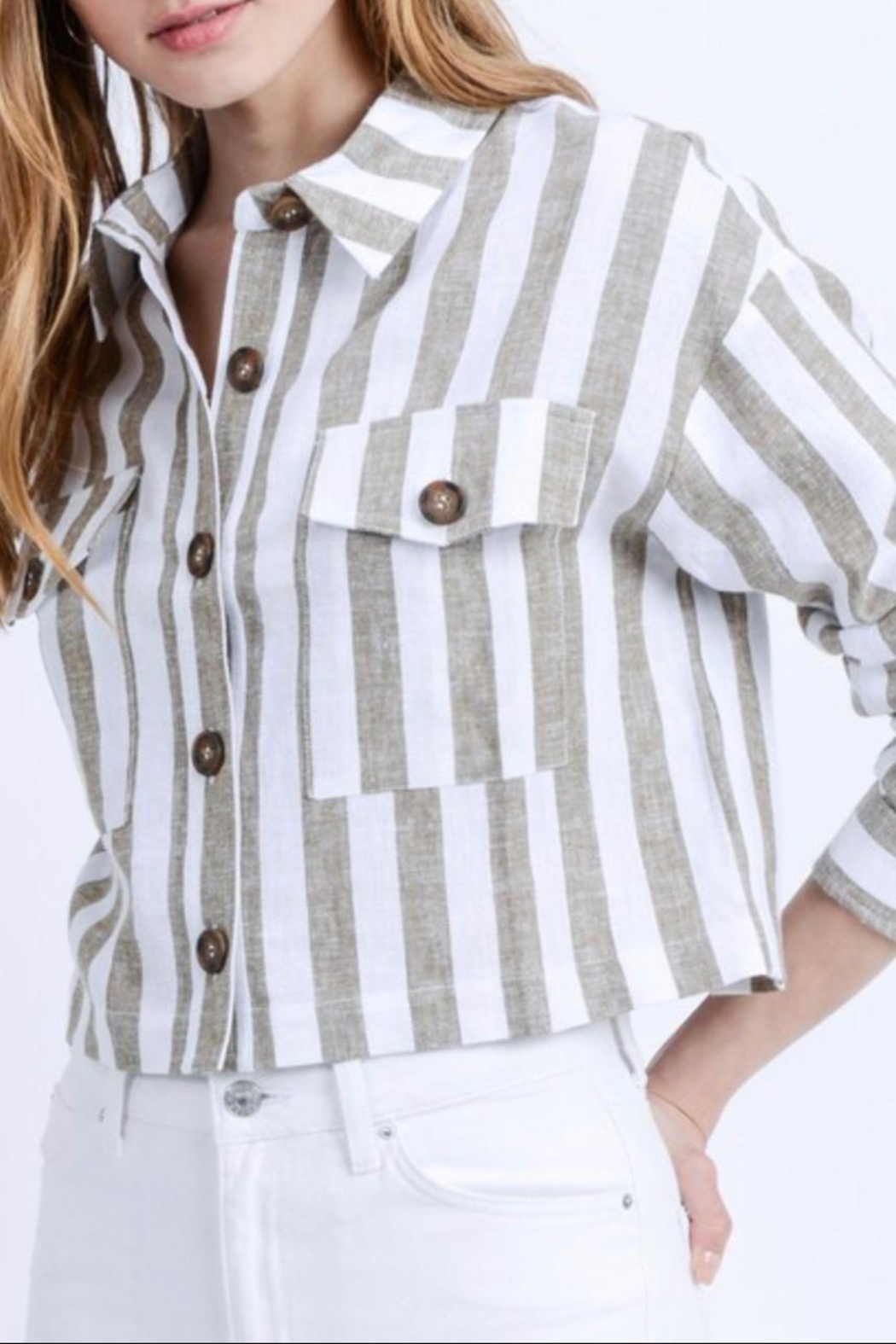 Love Tree Cropped Linen Jacket - Front Full Image