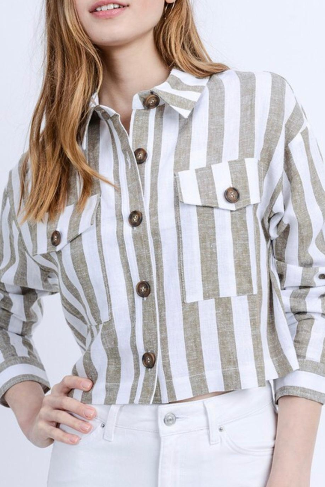 Love Tree Cropped Linen Jacket - Side Cropped Image
