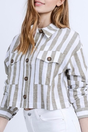 Love Tree Cropped Linen Jacket - Back cropped