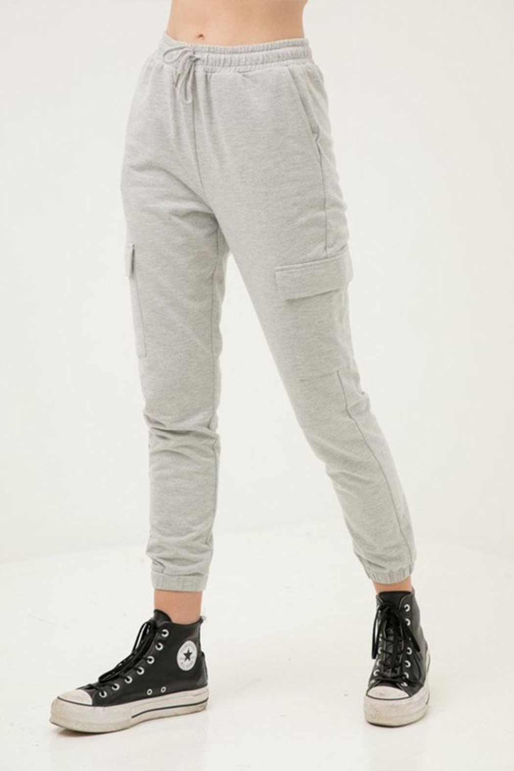 Love Tree Cropped Slim Joggers - Front Full Image