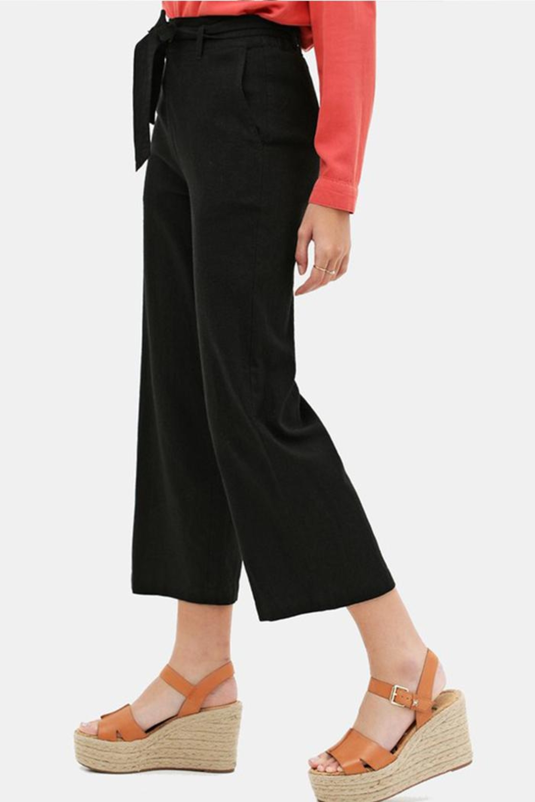 Love Tree Cropped Tie Pants - Front Full Image