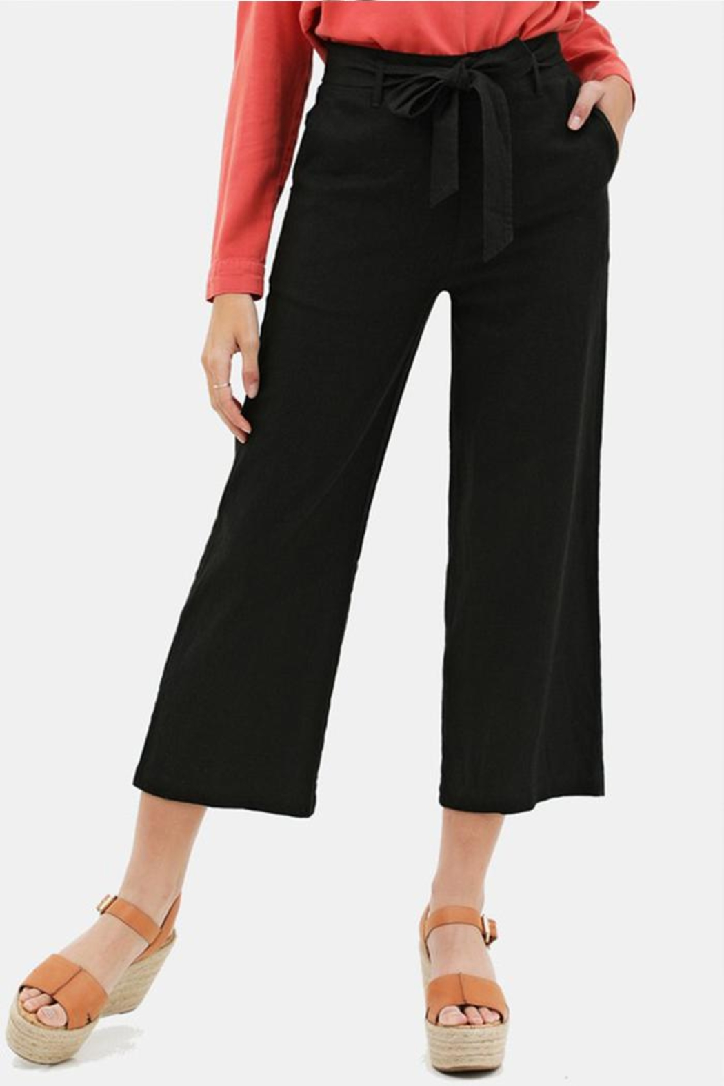 Love Tree Cropped Tie Pants - Front Cropped Image
