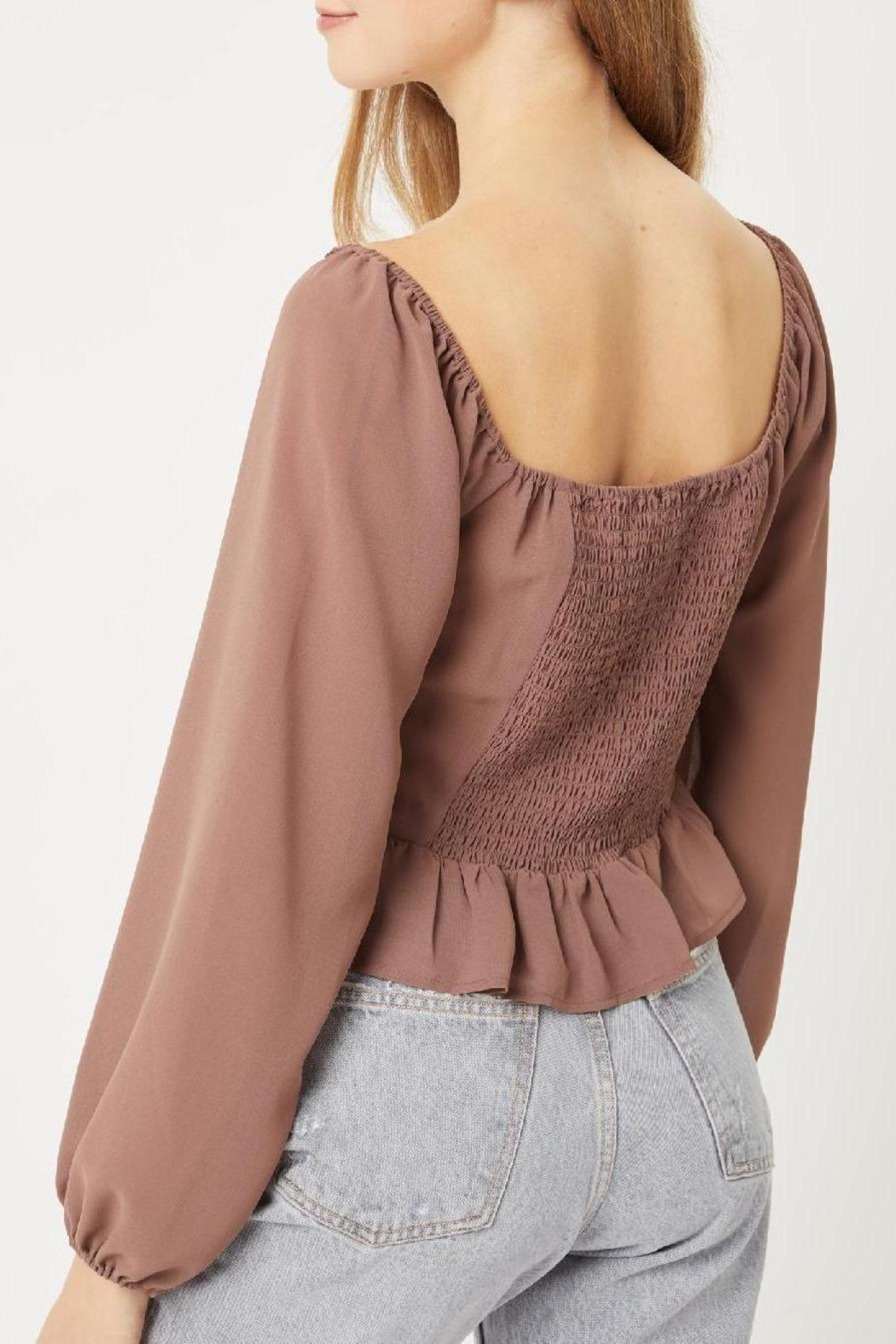 Love Tree Delany Blouse (In Terra Cotta, Black, And Cocoa) - Front Full Image