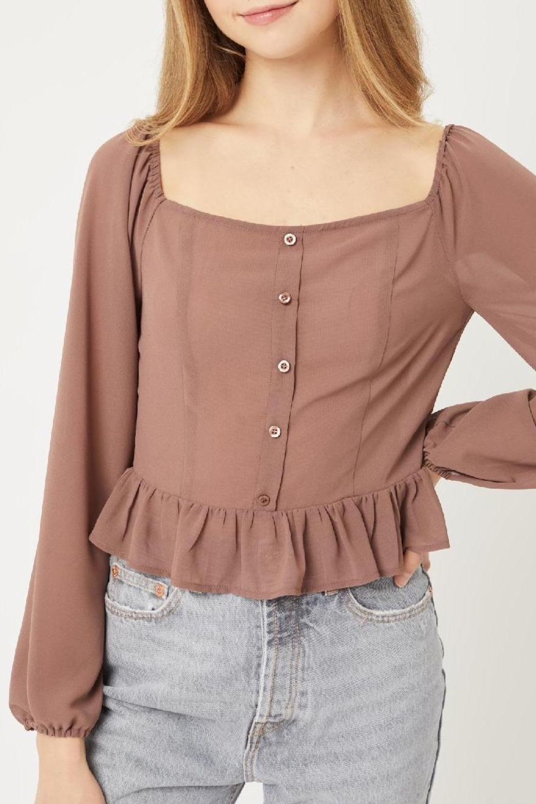 Love Tree Delany Blouse (In Terra Cotta, Black, And Cocoa) - Front Cropped Image