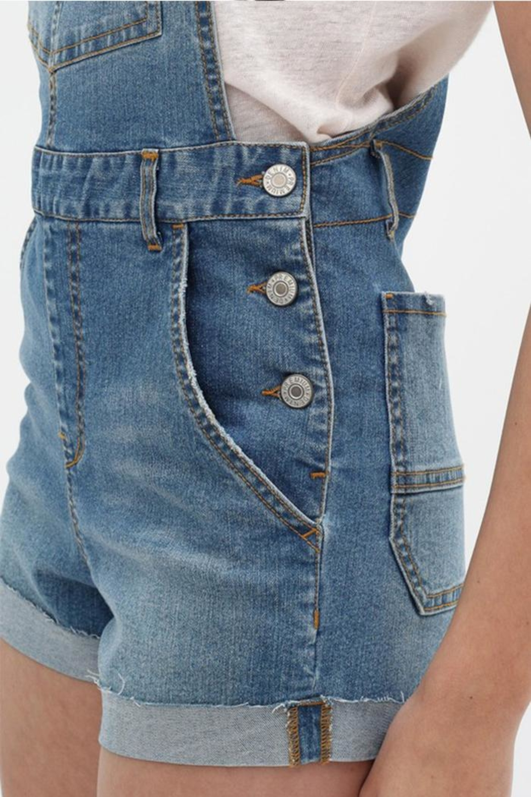 Love Tree Denim Overall Shorts - Back Cropped Image