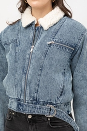 Love Tree Denim Shearling Jacket - Front full body