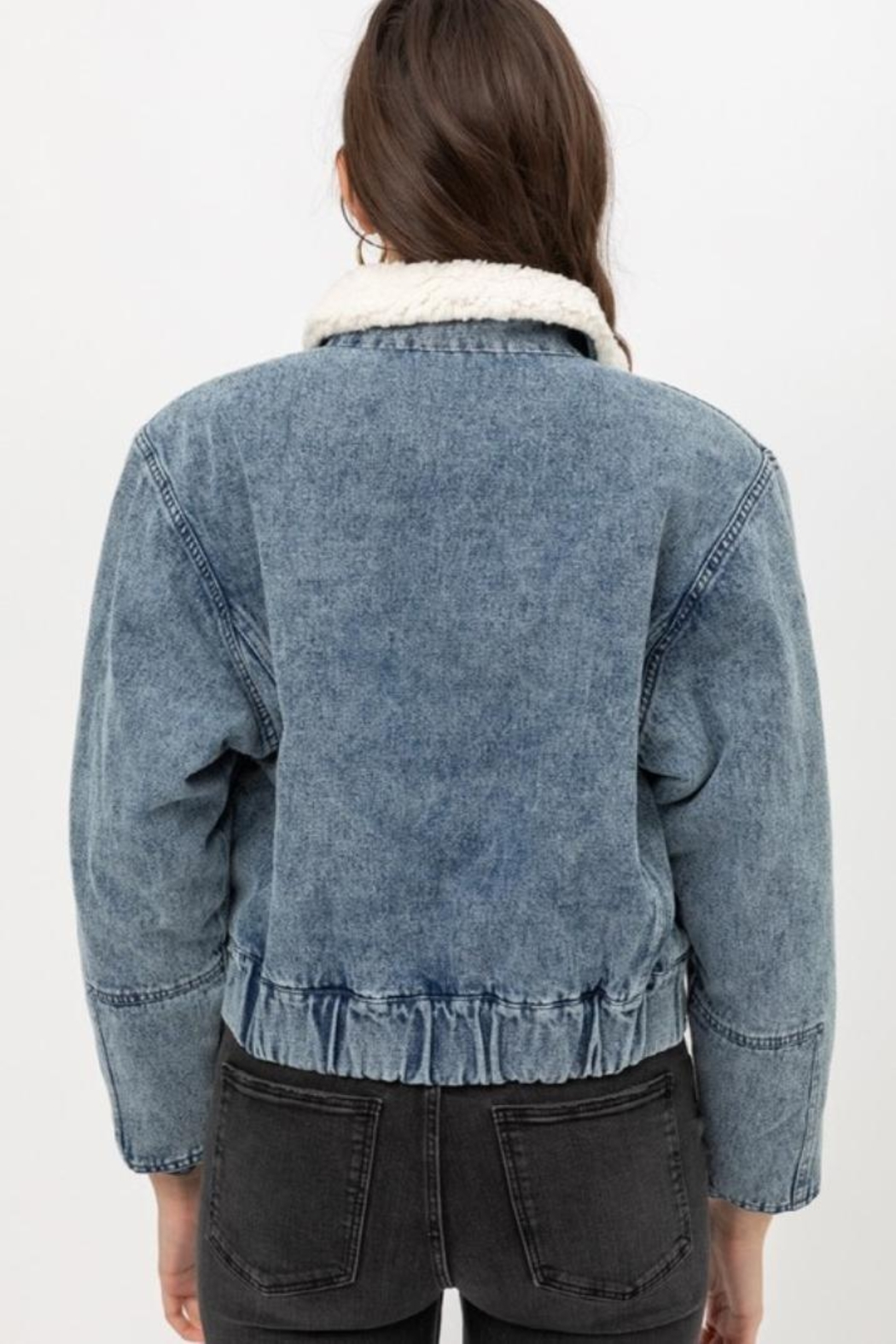 Love Tree Denim Shearling Jacket - Back Cropped Image
