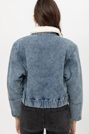 Love Tree Denim Shearling Jacket - Back cropped