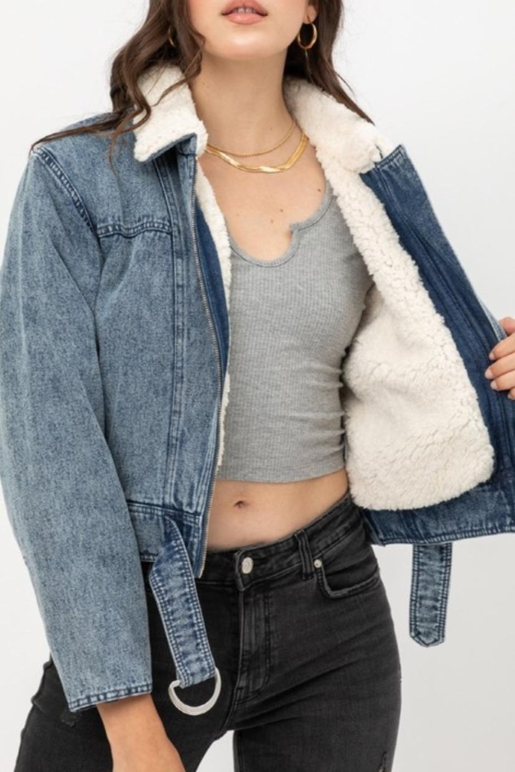 Love Tree Denim Shearling Jacket - Main Image