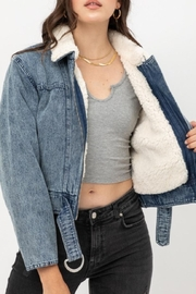 Love Tree Denim Shearling Jacket - Product Mini Image