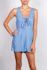 Love Tree Denim Tie-Front Romper - Product Mini Image