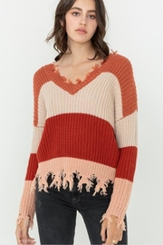 Love Tree Distressed Colorblock Sweater - Product Mini Image