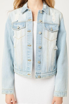 Love Tree Distressed Denim Cropped Jacket - Product List Image