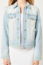 Love Tree Distressed Denim Cropped Jacket - Product Mini Image