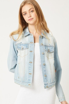 Love Tree Distressed Denim Cropped Jacket - Alternate List Image