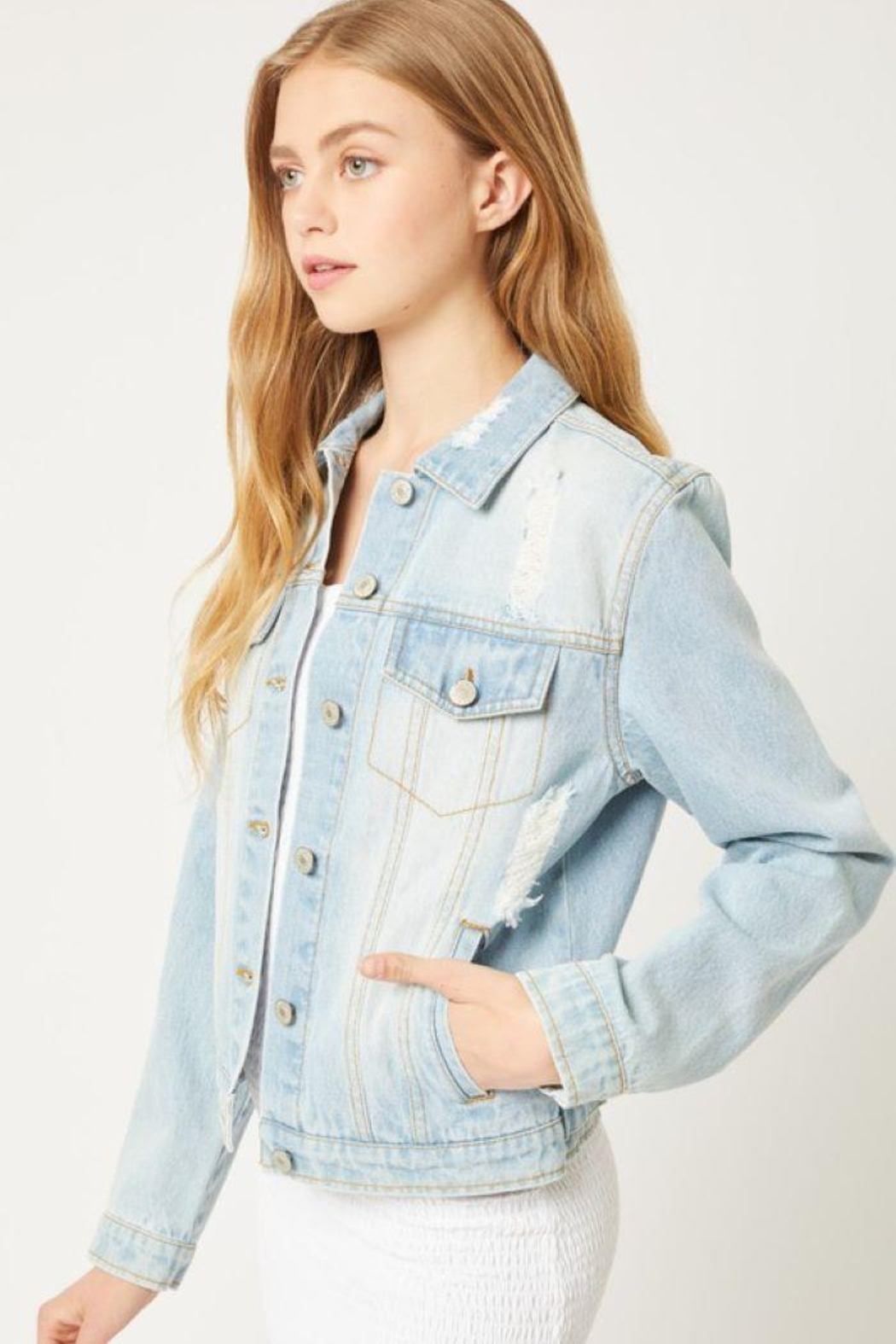 Love Tree Distressed Denim Cropped Jacket - Front Full Image