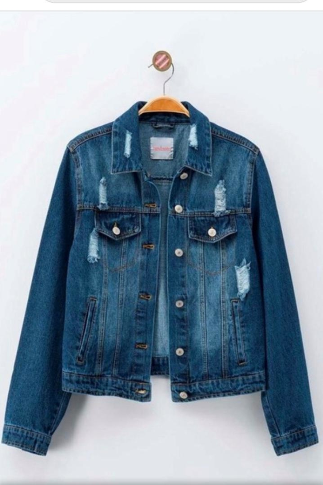 Love Tree Distressed Denim Jacket - Front Cropped Image
