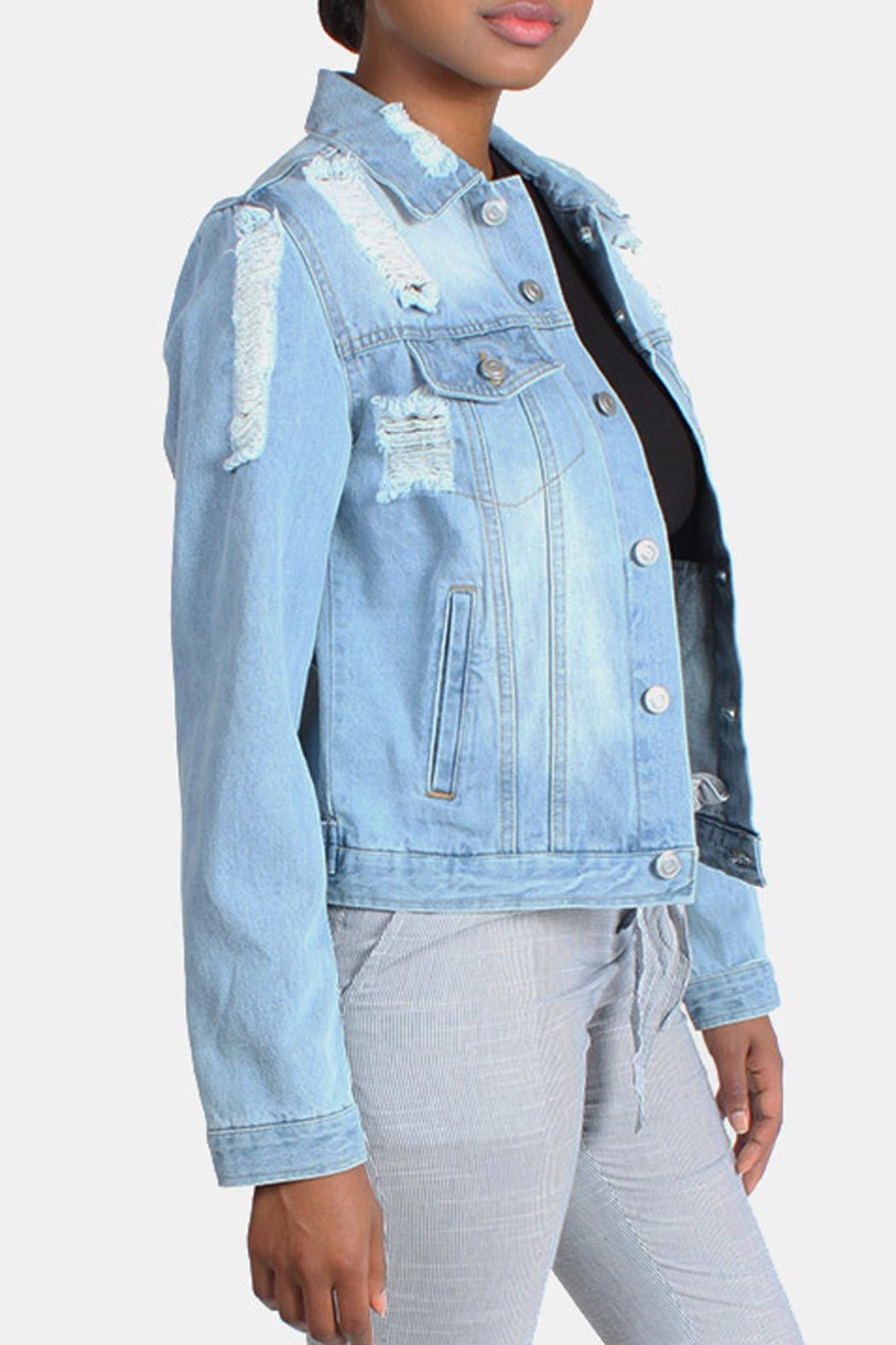 Love Tree Distressed Denim Jacket - Front Full Image