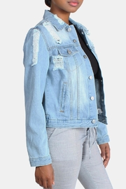 Love Tree Distressed Denim Jacket - Front full body