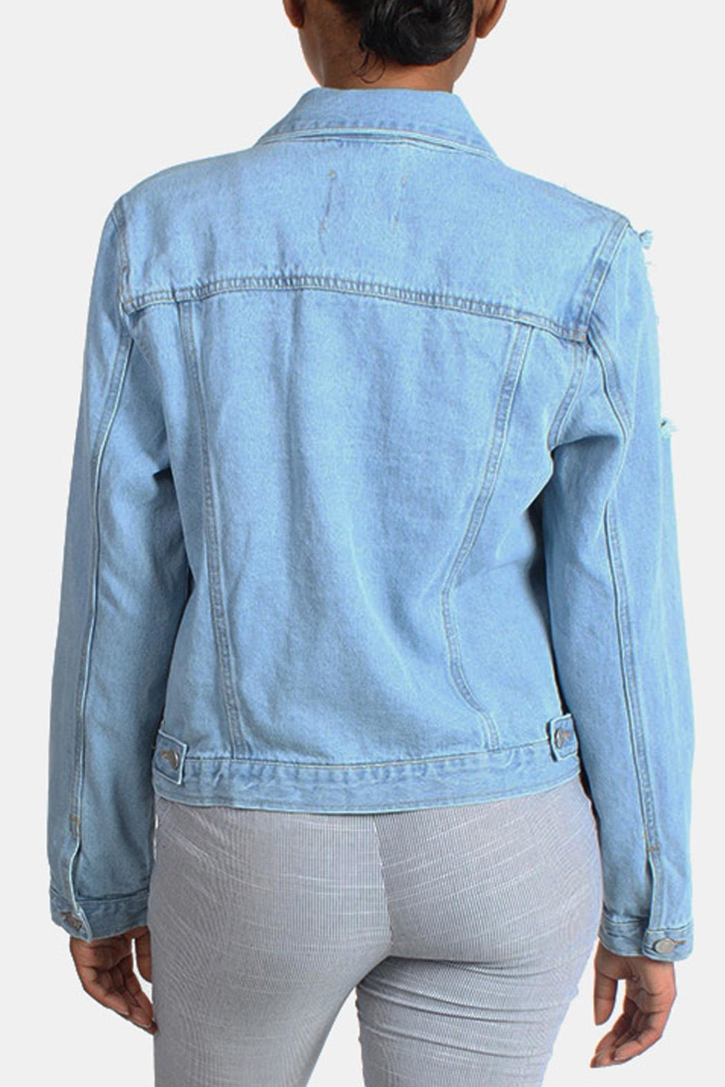 Love Tree Distressed Denim Jacket - Side Cropped Image