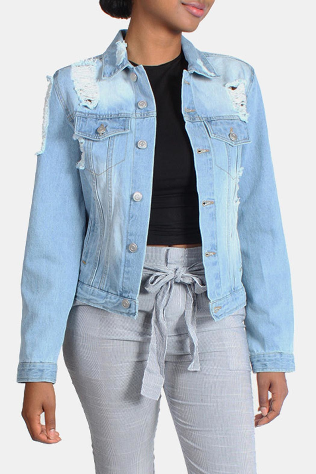 Love Tree Distressed Denim Jacket - Main Image