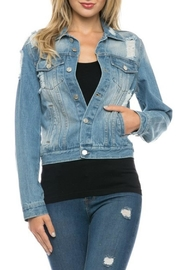 Love Tree Distressed Denim Jacket - Product Mini Image