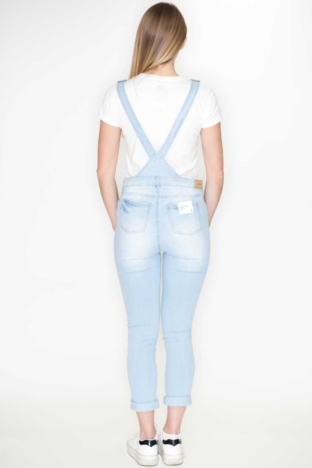 Love Tree Distressed Denim Overalls - Side Cropped Image