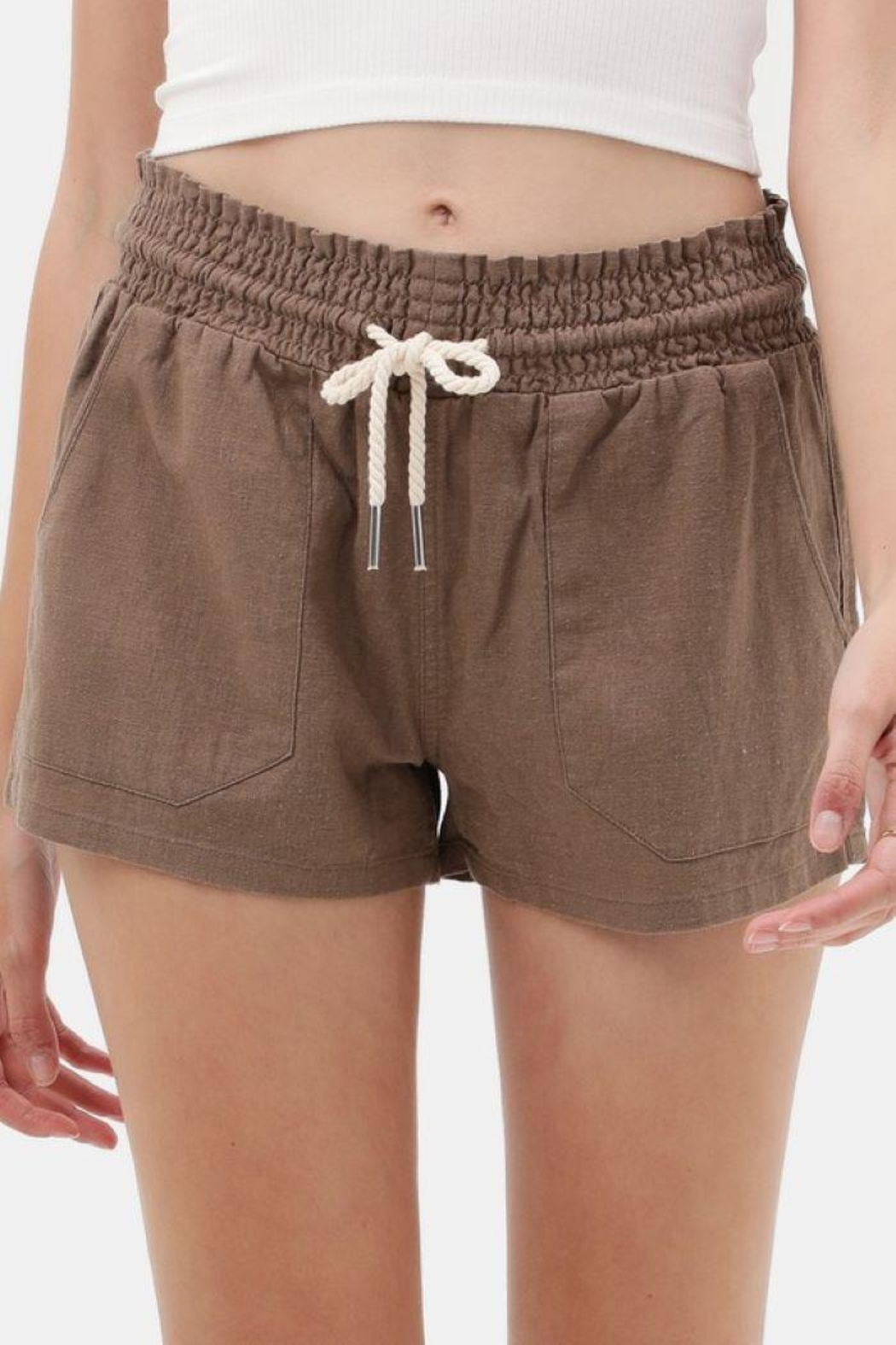 Love Tree Drawstring Linen Shorts - Front Cropped Image