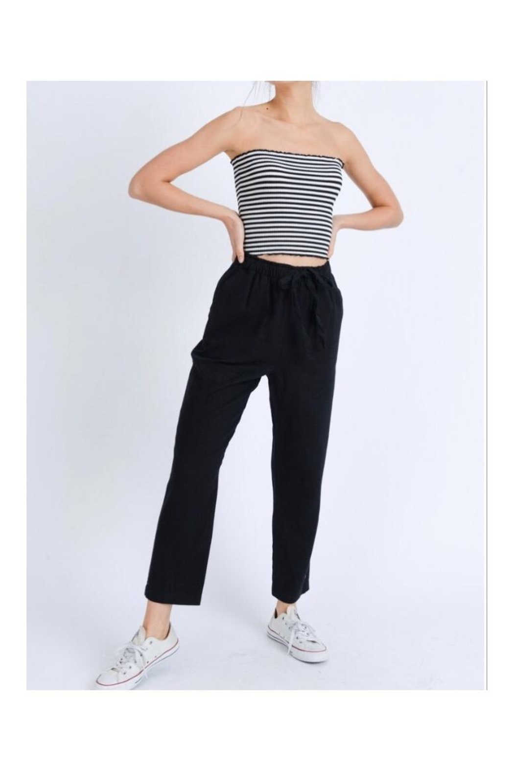 Love Tree Elastic Linen Pants - Front Cropped Image