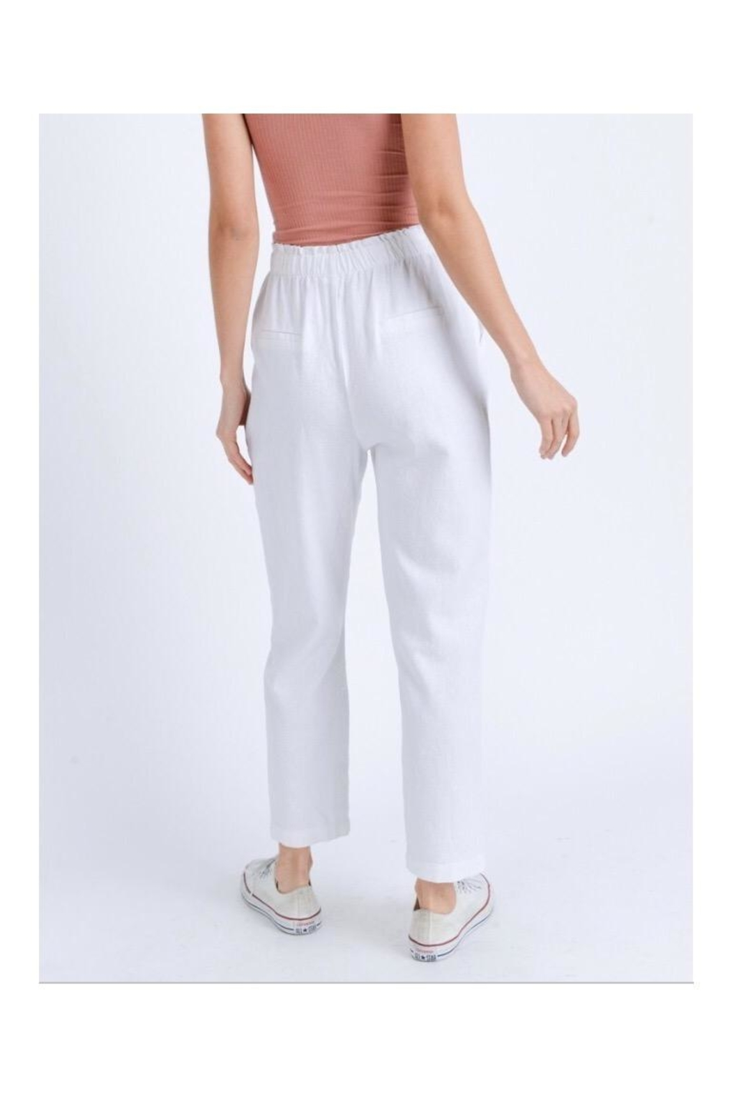 Love Tree Elastic Linen Pants - Front Full Image